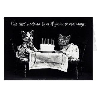 Vintage Cat Kitten Dressed Up Birthday Card