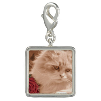 Vintage Cat Kitten With Rose, Square Charm