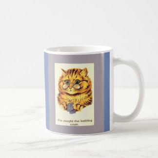 Vintage Cat Knitting by Louis Wain Coffee Mug