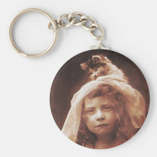 Vintage Cat on Head Basic Round Button Key Ring