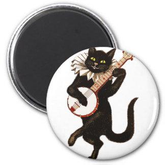 Vintage Cat Playing Banjo Magnet