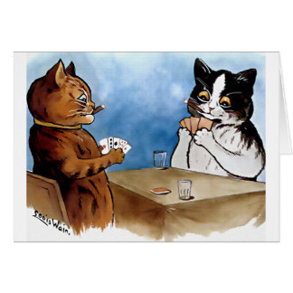 Vintage Cat Poker Player Card by Louis Wain