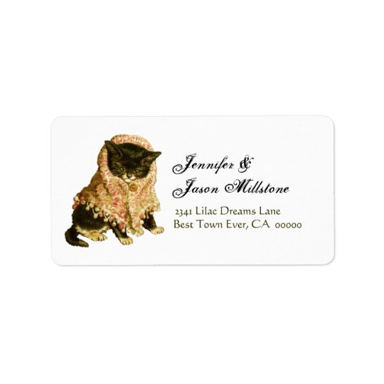 Vintage Cat Return Address Label