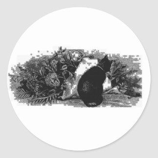 vintage cat stamps round sticker
