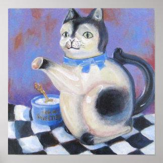 Vintage Cat Teapot Poster
