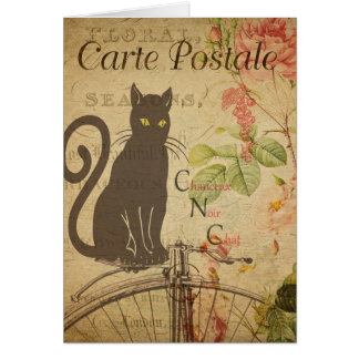 Vintage Cat Theme | Carte Postale | Black Cat Card