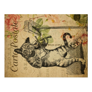 Vintage Cat Theme   Carte Postale   Cat & Fiddle Postcard