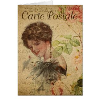 Vintage Cat Theme | Carte Postale | Cat Lady Card