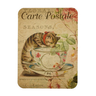 Vintage Cat Theme | Carte Postale | Cat & Teacup Magnet