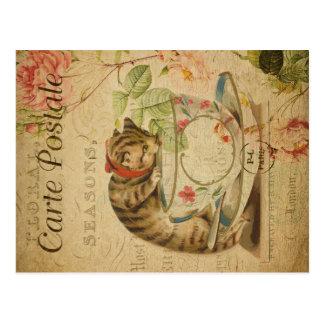 Vintage Cat Theme   Carte Postale   Cat & Teacup Postcard