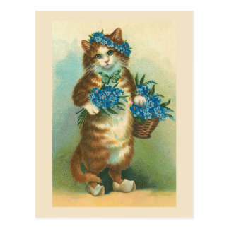 """Vintage Cat with Forget-me-nots"" Postcard"