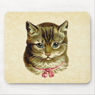 Vintage Cat with Pink Bow Mousepads