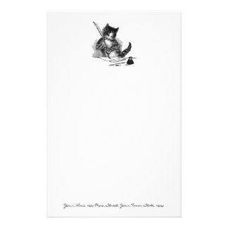 Vintage Cat Writing a Letter Personalized Stationery