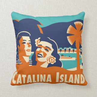 Vintage Catalina Island Luggage Tag Pillow