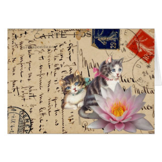 Vintage Cats and Flower Greeting Card