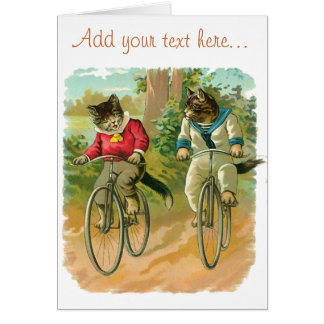 Vintage Cats on Bicycle Card