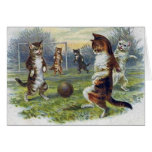 Vintage Cats Playing Soccer Greeting Card