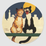 Vintage Cats Singing, Funny and Silly Animals Round Sticker