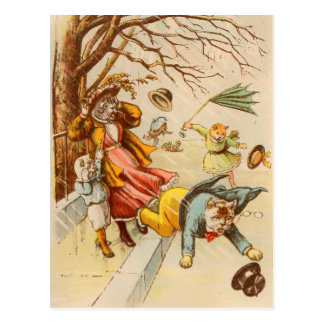 Vintage Cats Walking Windy Day Postcard