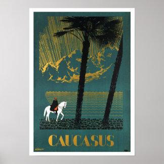 Vintage Caucasus Mountains Travel Poster