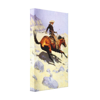 Vintage Cavalry Military, The Cowboy by Remington Stretched Canvas Prints
