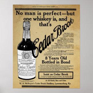 Vintage Cedar Brook Whiskey Bar Print Ad