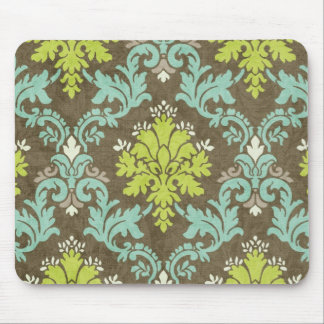 Vintage Celadon and Aqua Damask Mouse Pad