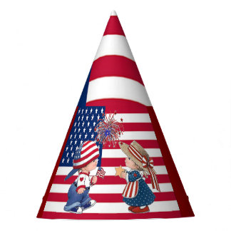 Vintage Celebrate American Flag and Kids Party Hat