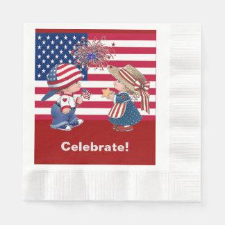 Vintage Celebrate American Flag Luncheon Napkin Paper Serviettes