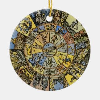 Vintage Celestial Astrology, Zodiac Wheel, 1555 Round Ceramic Decoration