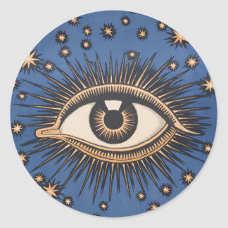 Vintage Celestial Eye Stars Moon Round Sticker