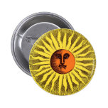 Vintage Celestial Yellow Smiling Happy Hippie Sun Pins