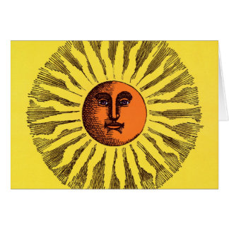 Vintage Celestial Yellow Smiling Happy Hippie Sun Card