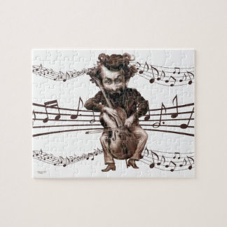 Vintage Cello Playing Caricature with Music Jigsaw Puzzle