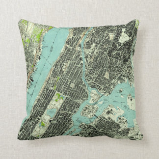 Vintage Central Park & Bronx NY Map (1947) Cushion