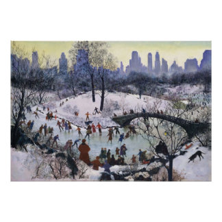 Vintage Central Park Skating Painting Poster