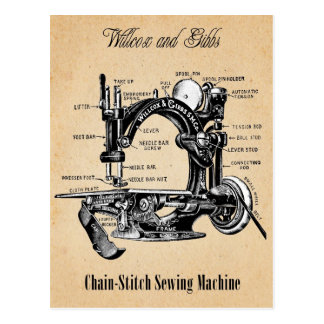 Vintage Chain-Stitch Sewing Machine Postcard