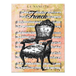 Vintage Chair & Music Invites