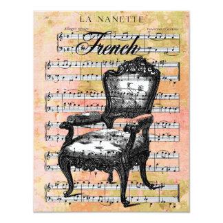 "Vintage Chair & Music Invites 4.25"" X 5.5"" Invitation Card"