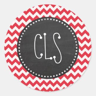 Vintage Chalk Alizarin Crimson Chevron; zig zag Round Sticker