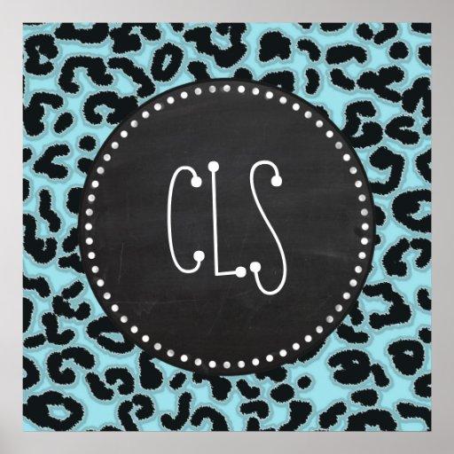 Vintage Chalk Blizzard Blue Leopard Animal Print