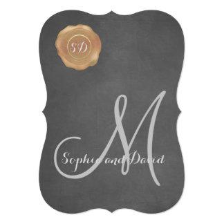 Vintage Chalk Old Wax Seal Monogram Wedding Invite