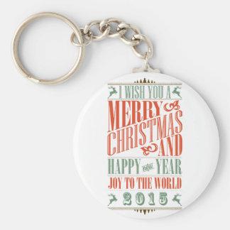 Vintage Chalkboad Christmas New Year 2015 Keychain
