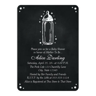 Vintage Chalkboard Baby Bottle Baby Shower Card