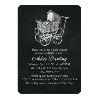 Vintage Chalkboard Baby Carriage Baby Shower 13 Cm X 18 Cm Invitation Card