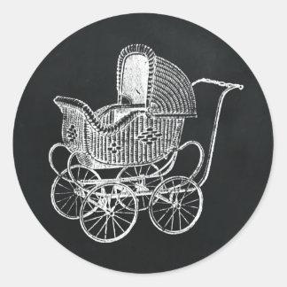 Vintage Chalkboard Baby Carriage Baby Shower Round Sticker