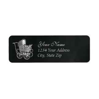 Vintage Chalkboard Baby Carriage Return Address Label