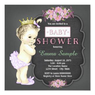 Vintage Chalkboard Baby Shower 13 Cm X 13 Cm Square Invitation Card