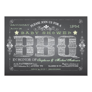 Vintage Chalkboard Baby Shower BBQ Invitation