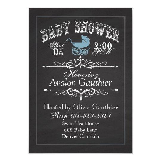 Vintage Chalkboard Baby Shower Blue Card